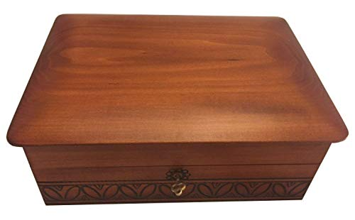 MilmaArtGift Extra Large Wood Box with Lock and Key Polish Handmade Jewelry Box Wooden Keepsake Memory Box