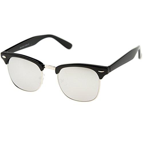 zeroUV - Half Frame Semi-Rimless Horn Rimmed Sunglasses (Black-Silver/Silver ()