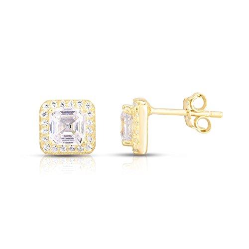Yellow Gold Plated Sterling Silver Asscher Cut Cubic Zirconia Halo Stud Earrings (Stud Asscher)