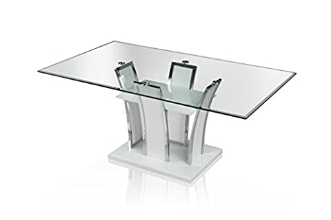 Furniture of America Priscilla Rectangular Tempered Glass Top Dining Table, High Gloss Base, White (Rectangular Table Base)