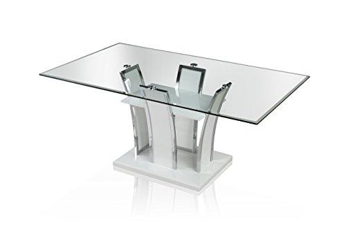 Furniture of America Priscilla Rectangular Tempered Glass Top Dining Table, High Gloss Base, White