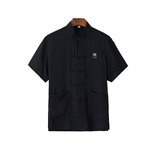 (ZooBoo Men Chinese Traditional Cotton Linen Short Sleeve Tang Suit Top Martial Art T-shirt (XXL/185, Black))