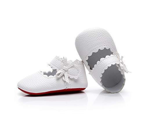 HONGTEYA Infant Baby Girls Red Sole Ballet Dress Shoes Mary Jane Princess Soft Sole Frist Walkers Crib Moccasins (12-18Months/US 6/5.12