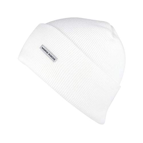 Mororock Beanie Hat Acrylic Knit Cuffed Beanie Cap (White) ()