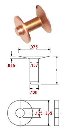 .151, #10 X 3//4 Copper Belt Rivet /& Burr Pack of 1 LB, Approximately 188 Rivets /& 188 Burrs Body Dia