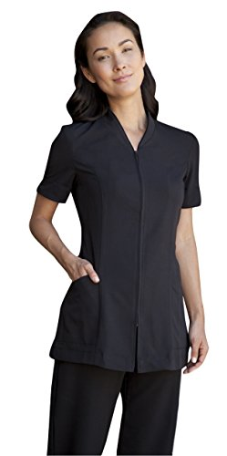 Averill's Sharper Uniforms Ladies Pravia Zipper Front with Piping Spa Tunic Short Sleeve, Small, Black-Black-Piping