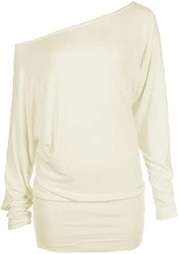 Zj Clothes Womens Long Sleeve Off Shoulder Plain Batwing Top