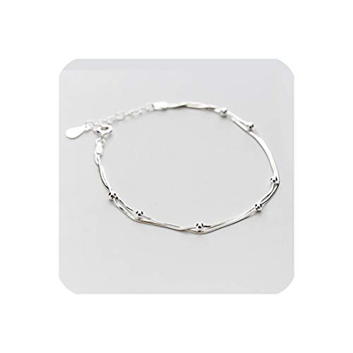 (100% 925 Sterling Silver Double Round Beads Snake Bone Chain Bracelets & Bangles,925 Sterling Silver)