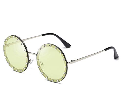Luxury Round Crystal Decorative Sunglasses Women New 2019 Brand Designer Rhinestone Sun Glasses for Female Oculos,C6 Silver Green
