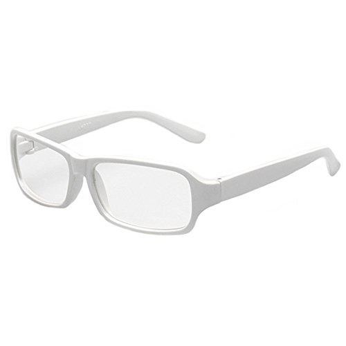 FancyG Vintage Inspired Classic Rectangle Glasses Frame Eyewear Clear Lens - - Glasses White Clear