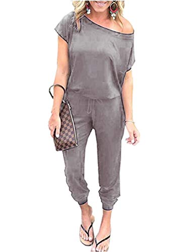(ANRABESS Women's Crew Neck Off Shoulder Drawstring Waisted Long Pants Jumpsuit Rompers with Pockets CXJqianhui-M WFF03 )
