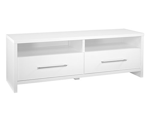 White Sliding Door Media Cabinet - ClosetMaid 1653 Media Stand with 2 Storage Drawers, White
