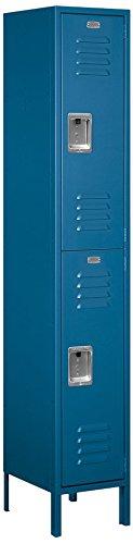 Salsbury Industries 52165BL-U Double Tier 15-Inch Wide 6-Feet High 15-Inch Deep Unassembled Extra Wide Standard Metal Locker, Blue by Salsbury Industries