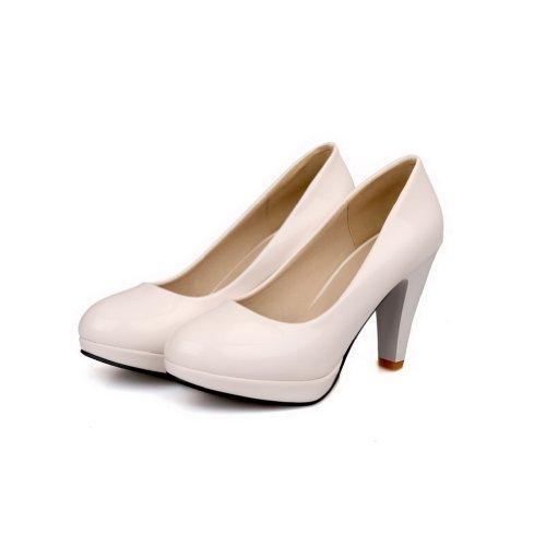AmoonyFashion Girls Closed Round Toe High Heel Platform Patent Leather PU Solid Pumps, White, 33