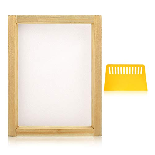 Caydo 2 Pieces Screen Printing kit Include 8 x 10 Inch Wood Silk Screen Printing Frames with 110 White Mesh and 1 Piece Plastic Scraper ()