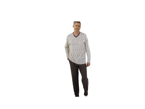 52302 HAJO Herren Pyjama Schlafanzug mit V Ausschnitt / Brusttasche