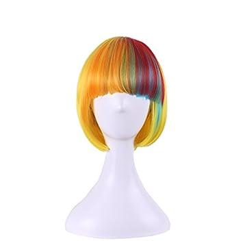 Urparcel Damen Kurze Haare Farbe Zusammen Bunt Gelb Cosplay Kostum