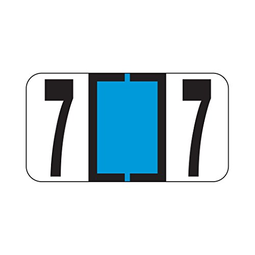 AMZfiling Numeric Labels- Number 7, Light Blue, Reynolds & Reynolds RF Compatible (Polylaminated, 500/Roll)
