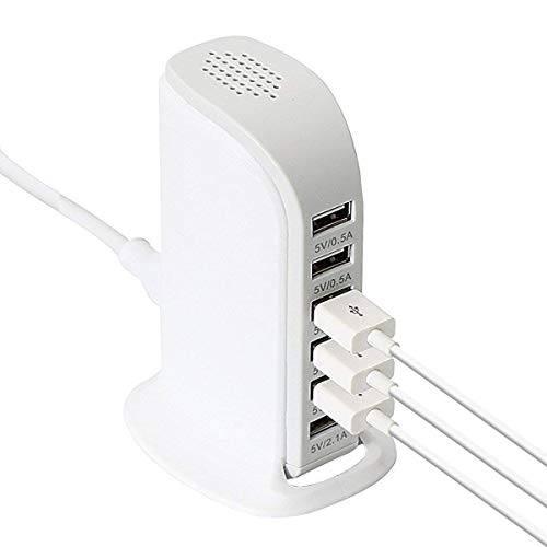 Brix 30W Multi 6 Port USB Charger 6A Rapid Charging Station Desktop Travel Hub   White