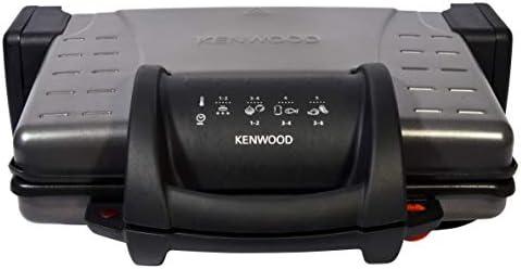 Kenwood HG210 - Plancha grill compacto, placas antiadherentes extraíbles, 3 posiciones, apertura 180 grados, bandeja recogegrasa, indicador de temperatura, enrollacable, 210 W, gris: Amazon.es: Hogar