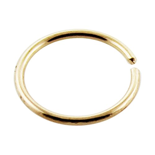 Open Nose Ring (14 Karat Solid Yellow Gold 20 Gauge ( 0.8MM ) - 5/16 Inch ( 8MM ) Length Open Hoop Nose Ring)