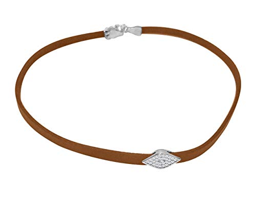Evil Eye Choker Necklace Genuine Tan Leather That Will Make You Shine Brightly | Alef Bet by Paula ()