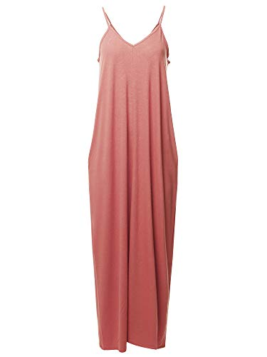 Jumper Spandex (Casual Premium Adjustable Strap Side Pockets Loose Long Maxi Dress Ash Rose M)