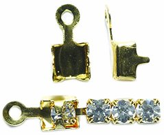 Shipwreck Beads Brass End Finding with Loop, Metallic, Gold, 100-Pack - Rhinestone Connector Beads Loop