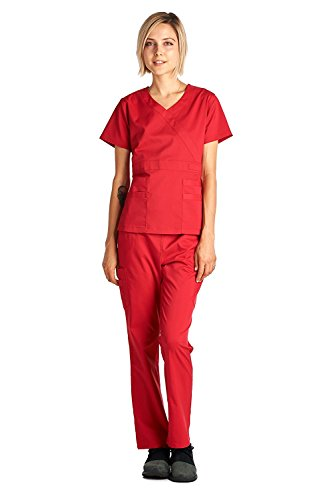 Dagacci Medical Uniform Women's Scrub Set Stretch and Soft Y-Neck Top and Pants, Red, S by Dagacci Medical Uniform (Image #4)