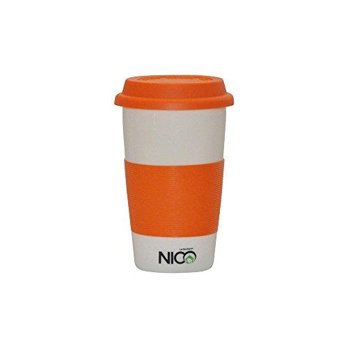 Les Boutiques NICO Ceramic Travel Mug Double Wall White Sturdy Porcelain Orange Silicone Lid Sleeve White Silicone Non-Slip Base Comfortable Grip Heat Resistance Easy to Clean BPA Free 12oz