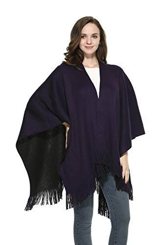 Cape Cardigan Sweater for Women Poncho Cape Black Green Red The Twins Dream, Purple/Black, One Size