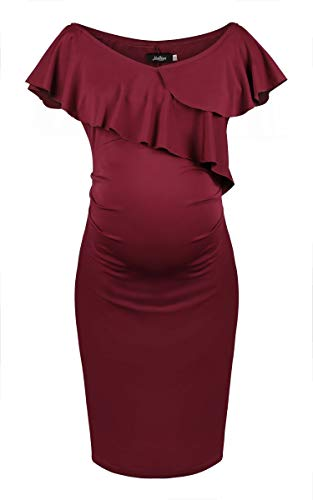 Dance Fairy Molliya Women's Maternity Bodycon Dress Off Shoulder Ruffles Ruched Sides Knee Length Casual Dress ()