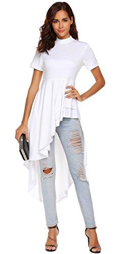 SimpleFun Womens Ruffle High Low Asymmetrical Short Sleeve Dress Bodycon Tops Blouses Shirts (White,M)