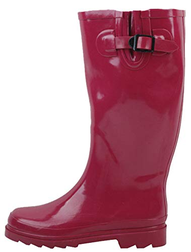 Adjustable Rain Rubber Styles Mid Wellies Fuchsia Multiple Snow Calf Buckle Boots High Knee Women's Fashion SBC qtHpFF