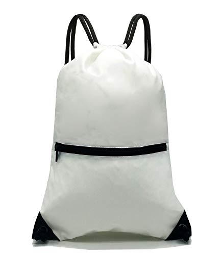 d21e3fec8cd1 HOLYLUCK Men   Women Sport Gym Sack Drawstring Backpack Bag (White ...