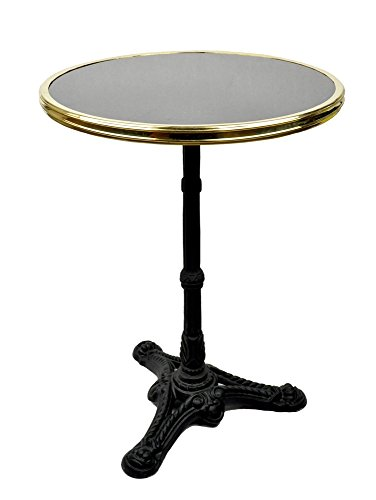 French Bistro Table, Black Granite & Iron Base