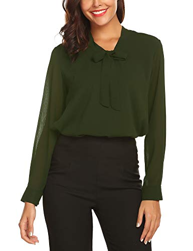 URRU Women's Office Shirts Bow Tie V Neck Long Sleeve Layered Chiffon Blouse Tops Green S ()
