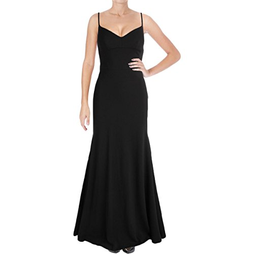 Vera Wang Women's Spaghetti Strap Sweetheart Neck Long Dress with Cutout Back, Black, 4 ()
