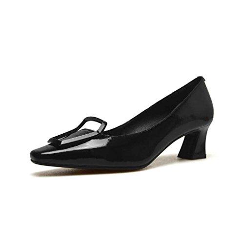 Zapatos Cuadrados para Mujeres Zapatos Negros de Tacón bajo Negro/Rojo/Amarillo Talla 34-39 (Color : Negro, Tamaño : 38)
