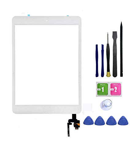 FeiyueTech iPad Mini 3 Touch Screen Replacement (Original White), Front Glass/Digitizer Touch Panel IC Chip Connector, Home Button,PreInstalled Adhesive Repair Tool Kit (White) by FeiyueTech