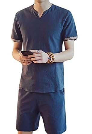 Men's Linen Summer Beach Set Short Sleeve Shirt Short Pants 2 Pieces Outfits 1 2XL
