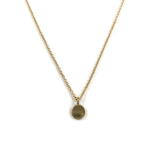 Dainty, Simple and Modern Pendant Necklace, Genuine Raw Brass Tiny Round Tag Charm, Elegant Jewelry, Gifts for Women (16)