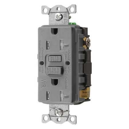 GFCI Receptacle, 20A, 125VAC, 5-20R, Gray by Hubbell Wiring Device-Kellems