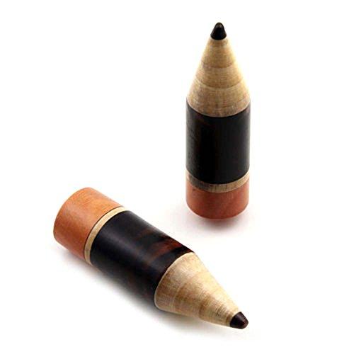 Pair Organic Wood Pencil Design Ear plugs Big Gauges Body Piercing Jewelry (Design Ear Plug)