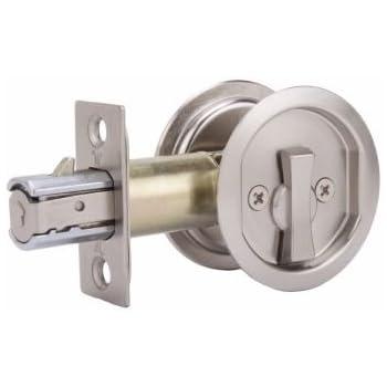 Weslock 677 Round Privacy Sliding Pocket Door Lock, Satin Nickel