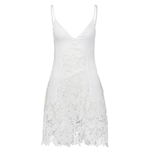 Aunimeifly Women's Sexy Deep V-Neck Adjustable Shoulder Strap Lace Sling Solid Color Sweet Dress White