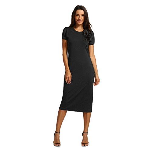 Beaded Jacquard Sheath Dress - Wintialy Women Solid Short Length O-Neck Mid-Calf Straight Dress Princess Dress Black