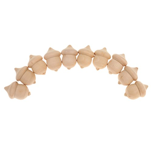 (Flameer 10PCS Unfinished Wooden Acorns DIY Montessori Toys Cake Topper Wedding Decor )