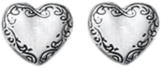 product image for DANFORTH - Victorian Heart Mini Post Earrings - 3/8 Inch - Pewter - Handcrafted - Made in USA