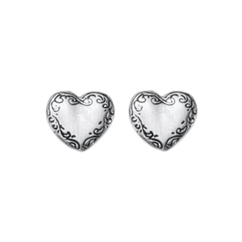 (DANFORTH - Victorian Heart Mini Post Earrings - 3/8 Inch - Pewter - Handcrafted - Made in USA)